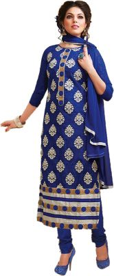 Buy Sinina Blue Color Unstitched Cotton Embroidered Dress Material (code - Skmannat646) online