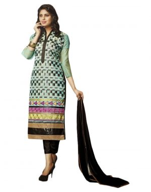 Buy Sinina Light Sky Blue Color Unstitched Chanderi Cotton Embroidered Dress Material (code - Skmasha682) online