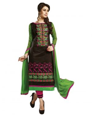 Buy Sinina Black Color Unstitched Chanderi Cotton Embroidered Dress Material (code - Skmasha686) online