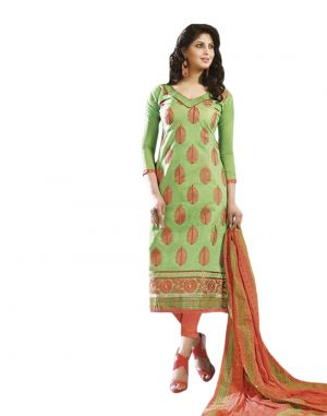 Buy Sinina Green Color Unstitched Chanderi Cotton Embroidered Dress Material (code - Skmasha690) online