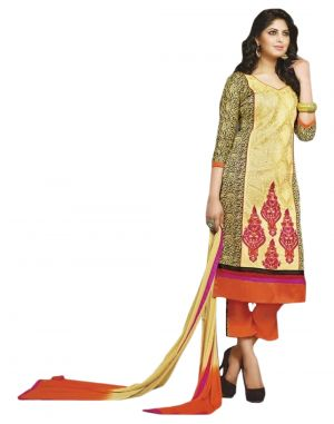 Buy Sinina multi color Unstitched cotton embroidered dress material online