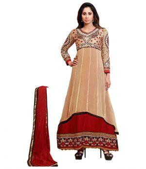 Buy Sinina Orange Georgette Salwar Kameez Suit Semi Stitched Anarkali Dress Material online