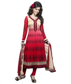 Buy Sinina Red Georgette Salwar Kameez Suit Semi Stitched Anarkali Dress Material online