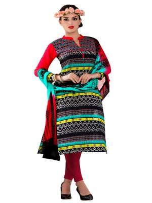 Buy Sinina Multi Color Un Stitched Cotton Embroidered Dress Material (code - Wave21) online