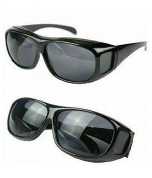 Buy Unisex HD Night Vision Driving Men Women Sunglasses Over Wrap Around Glasses ( Black ) Set Of 2 online