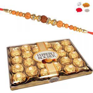 Buy Rakhi Chocolate Hamper - Premium Rakhi With 24 PCs Ferrero Rocher Online online