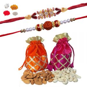 Buy Rakhi Dry Fruit Hamper - Rakhis Set With Premium Gift Set online