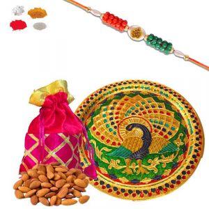 Buy Rakhi Thali Dry Fruit Hamper - Mauli Om Rakhi And Gotapatti Batwa With Dry Fruits Gifts For Brother online