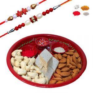 Buy Rakhi Thali Hamper 2017 - Maalpani Bead Rakhi Set With Sweets And Dryfruit Online online