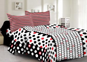 Buy Welhouse Cotton Polka White Double Bedsheet with 2 Contrast Pillow Covers online