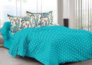 Buy Welhouse Blue & Polka Design Super Soft Feeling Double Bedsheet with 2 CONTRAST Pillow Cover online