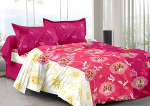 Buy Welhouse Pink & Floral Design Super Soft Feeling Double Bedsheet with 2 CONTRAST Pillow Cover online