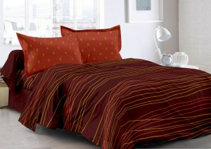 Buy Welhouse Brown & Stripes Design 100% Organic Double Bedsheet with 2 CONTRAST Pillow Cover online