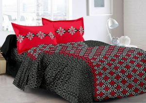 Buy Welhouse Black & Abstract Design Herbal Cotton Double Bedsheet with 2  Pillow Cover online