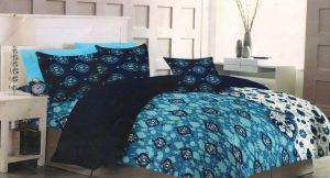 Buy Welhouse Traditional Blue Cotton King Size Bedsheet & 2 Pillow Covers online