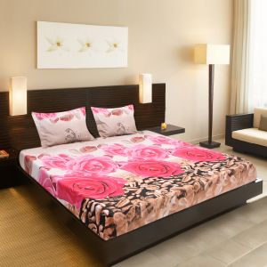 Buy Welhouse India Beautiful Floral Design 1 Double Bedsheet & 2 Pillow Covers online