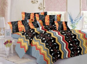 Buy Welhouse Cotton Floral Black Double Bedsheet with 2 Contrast Pillow Covers online