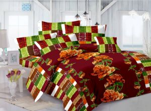 Buy Welhouse Cotton Floral Brown Double Bedsheet with 2 Contrast Pillow Covers online
