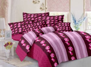 Buy Welhouse Cotton Floral Pink Double Bedsheet with 2 Contrast Pillow Covers online