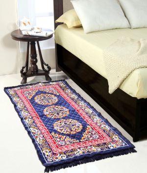 Buy Welhouse India Blue Colour Traditional Runner Mat online