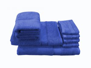 Buy Welhouse India Family Pack 8 Piece Cotton Towels Set - Royal Blue online