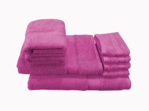 Buy Welhouse India Family Pack 8 Piece Cotton Towels Set - Purple online