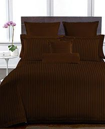 Buy Welhouse Brown Colour Stripes Design 1 Double Bedsheet with 2 Pillow Covers online