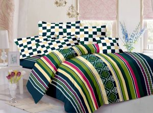 Buy Welhouse Cotton Stripes Multicolor Double Bedsheet with 2 Contrast Pillow Covers online