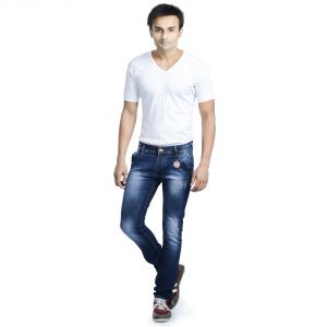 Buy Savon Mens Slim Fit Stretch Blue Damaged Denim Jeans For Men ...