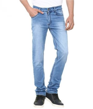 Buy Savon Eye Catching Blue Slim Fit Faded Jeans online