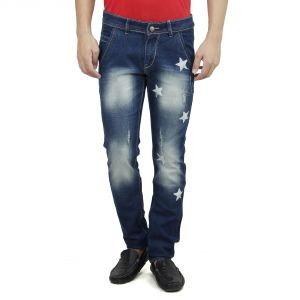 Buy Savon Mens Slim Fit Blue Distressed Denim Jeans For Men With Elegant Star Shapes online