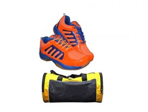 Buy Port Dox Orange Men's Badminton Sports Shoes Combo (gym Duffle Bag) online