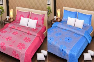 Buy Handloomdaddy Cotton Pack Of 2 Designer Double Bedsheet With 4 Pillow Covers online
