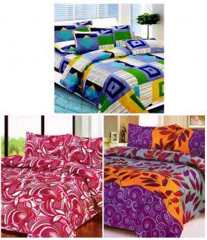 Buy Sai Arpan's Set Of 3 Premium Bed Sheets Combo online