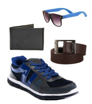 Buy Provogue Stylish & Attractive Grey And Blue Sport Shoes With Belt Wallet And Blue Wayfarer online