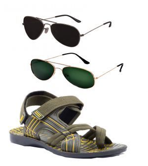Buy Combo Of Provogue And Fastfox Stylish & Attractive Olive Floater Sandals And Two online