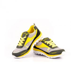 Buy Provogue 1065 Grey And Yellow Running Sports Shoes online
