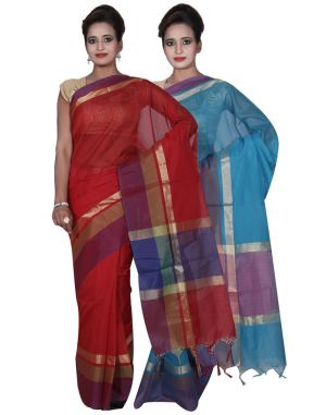 Buy Banarasi Silk Works Party Wear Designer Blue & Red Colour Cotton Combo Saree For Women's(bsw10_11) online