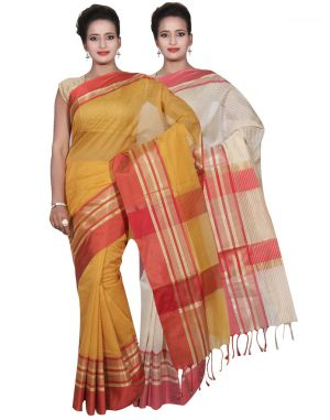Buy Banarasi Silk Works Party Wear Designer Cream & Gold Colour Cotton Combo Saree For Women's(bsw20_21) online