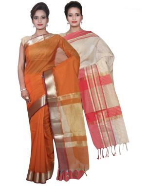 Buy Banarasi Silk Works Party Wear Designer Cream & Orange Colour Cotton Combo Saree For Women's(bsw20_22) online