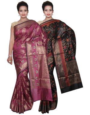 Buy Banarasi Silk Works Party Wear Designer Black & Purple Colour Cotton Combo Saree For Women's(bsw40_42) online