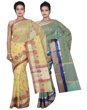 Buy Banarasi Silk Works Party Wear Designer Green & Yellow Colour Super Net Combo Saree For Women's(bsw50_51) online