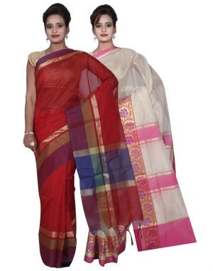 Buy Banarasi Silk Works Party Wear Designer Red & Cream Colour Cotton Combo Saree For Women's(bsw11_13) online