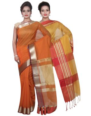 Buy Banarasi Silk Works Party Wear Designer Gold & Orange Colour Cotton Combo Saree For Women's(bsw21_22) online