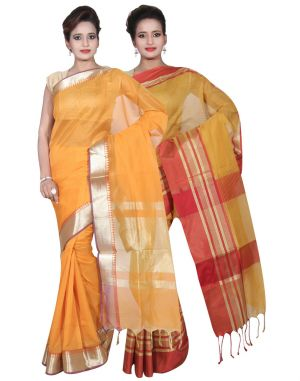 Buy Banarasi Silk Works Party Wear Designer Gold & Mustered Colour Cotton Combo Saree For Women's(bsw21_23) online
