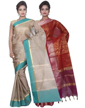 Buy Banarasi Silk Works Party Wear Designer Red & Grey Colour Cotton Combo Saree For Women's(bsw31_32) online