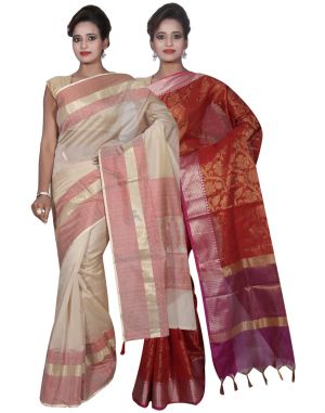 Buy Banarasi Silk Works Party Wear Designer Red & Cream Colour Cotton Combo Saree For Women's(bsw31_33) online