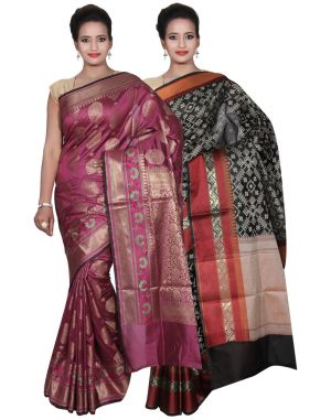 Buy Banarasi Silk Works Party Wear Designer Black & Purple Colour Cotton Combo Saree For Women's(bsw41_42) online