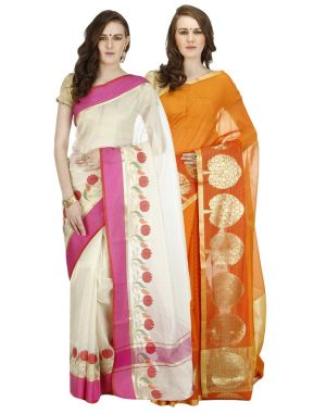 Buy Banarasi Silk Works Party Wear Designer Multi Colour Combo Saree For Women's(bsw1001_45) online