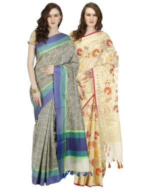 Buy Banarasi Silk Works Party Wear Designer Multi Colour Combo Saree For Women's(bsw1051_46) online